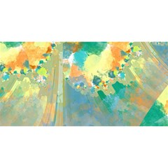 Abstract Flower Design In Turquoise And Yellows You Are Invited 3d Greeting Card (8x4)