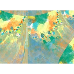 Abstract Flower Design In Turquoise And Yellows Birthday Cake 3d Greeting Card (7x5)