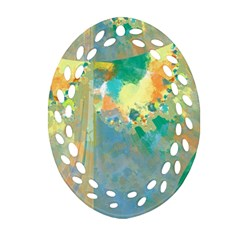 Abstract Flower Design in Turquoise and Yellows Oval Filigree Ornament (2-Side)