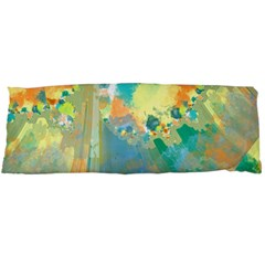 Abstract Flower Design in Turquoise and Yellows Body Pillow Cases Dakimakura (Two Sides)