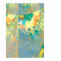 Abstract Flower Design in Turquoise and Yellows Small Garden Flag (Two Sides)