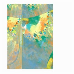 Abstract Flower Design in Turquoise and Yellows Large Garden Flag (Two Sides)