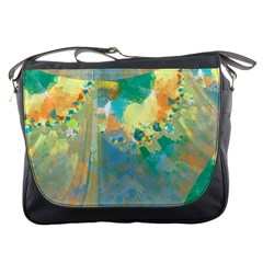 Abstract Flower Design In Turquoise And Yellows Messenger Bags