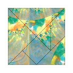Abstract Flower Design In Turquoise And Yellows Acrylic Tangram Puzzle (6  X 6 )