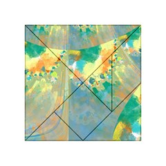 Abstract Flower Design In Turquoise And Yellows Acrylic Tangram Puzzle (4  X 4 )