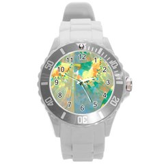 Abstract Flower Design In Turquoise And Yellows Round Plastic Sport Watch (l)