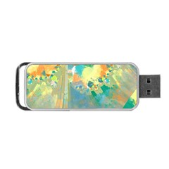 Abstract Flower Design in Turquoise and Yellows Portable USB Flash (One Side)