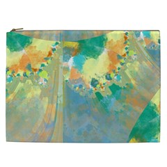 Abstract Flower Design In Turquoise And Yellows Cosmetic Bag (xxl)