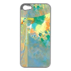 Abstract Flower Design In Turquoise And Yellows Apple Iphone 5 Case (silver)