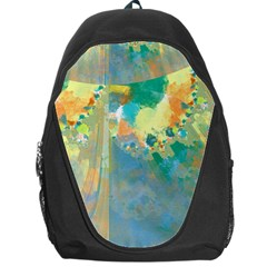 Abstract Flower Design in Turquoise and Yellows Backpack Bag