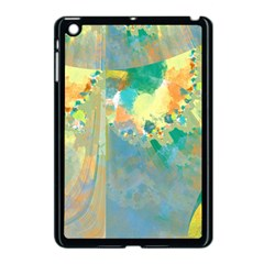 Abstract Flower Design in Turquoise and Yellows Apple iPad Mini Case (Black)