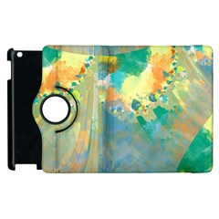 Abstract Flower Design In Turquoise And Yellows Apple Ipad 2 Flip 360 Case