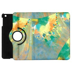 Abstract Flower Design in Turquoise and Yellows Apple iPad Mini Flip 360 Case