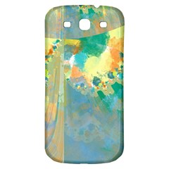 Abstract Flower Design in Turquoise and Yellows Samsung Galaxy S3 S III Classic Hardshell Back Case