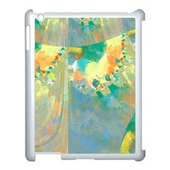 Abstract Flower Design In Turquoise And Yellows Apple Ipad 3/4 Case (white)