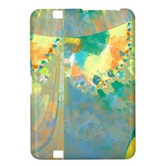 Abstract Flower Design In Turquoise And Yellows Kindle Fire Hd 8 9