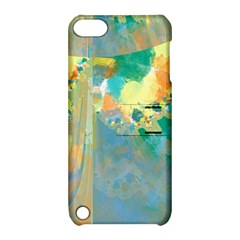 Abstract Flower Design In Turquoise And Yellows Apple Ipod Touch 5 Hardshell Case With Stand