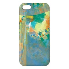 Abstract Flower Design In Turquoise And Yellows Apple Iphone 5 Premium Hardshell Case