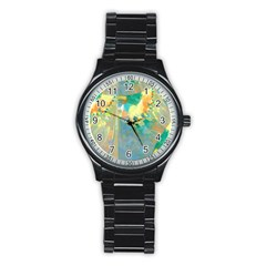 Abstract Flower Design in Turquoise and Yellows Stainless Steel Round Watches