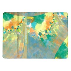 Abstract Flower Design In Turquoise And Yellows Samsung Galaxy Tab 10 1  P7500 Flip Case