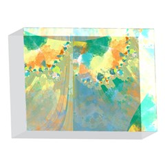 Abstract Flower Design in Turquoise and Yellows 5 x 7  Acrylic Photo Blocks