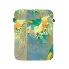 Abstract Flower Design in Turquoise and Yellows Apple iPad 2/3/4 Protective Soft Cases