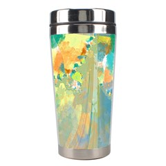 Abstract Flower Design In Turquoise And Yellows Stainless Steel Travel Tumblers
