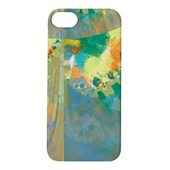 Abstract Flower Design in Turquoise and Yellows Apple iPhone 5S Hardshell Case