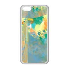 Abstract Flower Design In Turquoise And Yellows Apple Iphone 5c Seamless Case (white)
