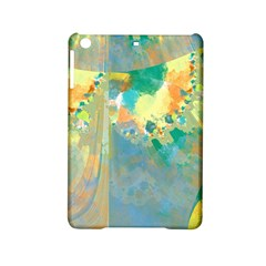 Abstract Flower Design in Turquoise and Yellows iPad Mini 2 Hardshell Cases