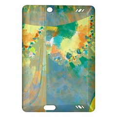 Abstract Flower Design in Turquoise and Yellows Kindle Fire HD (2013) Hardshell Case