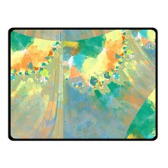 Abstract Flower Design in Turquoise and Yellows Double Sided Fleece Blanket (Small)