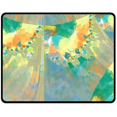 Abstract Flower Design in Turquoise and Yellows Double Sided Fleece Blanket (Medium)