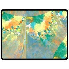 Abstract Flower Design in Turquoise and Yellows Double Sided Fleece Blanket (Large)