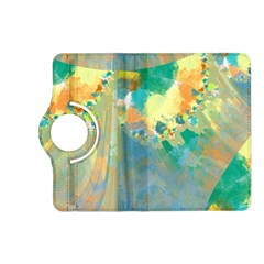 Abstract Flower Design in Turquoise and Yellows Kindle Fire HD (2013) Flip 360 Case