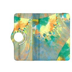 Abstract Flower Design In Turquoise And Yellows Kindle Fire Hdx 8 9  Flip 360 Case
