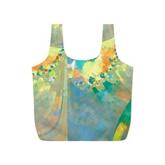 Abstract Flower Design in Turquoise and Yellows Full Print Recycle Bags (S)