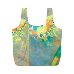 Abstract Flower Design In Turquoise And Yellows Full Print Recycle Bags (m)