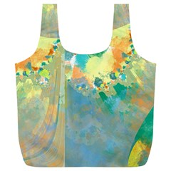 Abstract Flower Design In Turquoise And Yellows Full Print Recycle Bags (l)