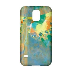 Abstract Flower Design In Turquoise And Yellows Samsung Galaxy S5 Hardshell Case