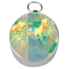 Abstract Flower Design in Turquoise and Yellows Silver Compasses