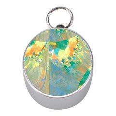 Abstract Flower Design in Turquoise and Yellows Mini Silver Compasses