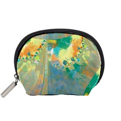 Abstract Flower Design in Turquoise and Yellows Accessory Pouches (Small)