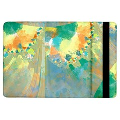 Abstract Flower Design In Turquoise And Yellows Ipad Air Flip