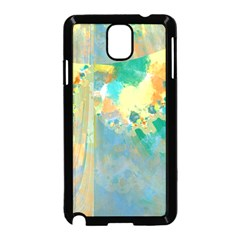 Abstract Flower Design In Turquoise And Yellows Samsung Galaxy Note 3 Neo Hardshell Case (black)