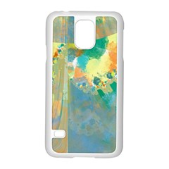 Abstract Flower Design in Turquoise and Yellows Samsung Galaxy S5 Case (White)