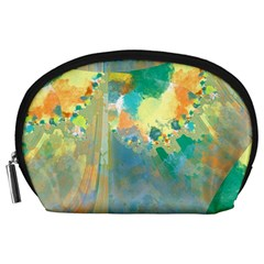 Abstract Flower Design in Turquoise and Yellows Accessory Pouches (Large)