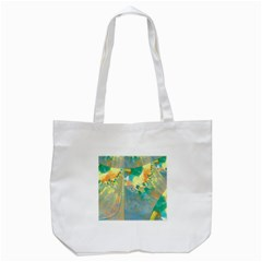 Abstract Flower Design In Turquoise And Yellows Tote Bag (white)