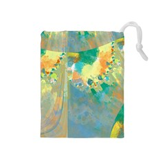 Abstract Flower Design in Turquoise and Yellows Drawstring Pouches (Medium)
