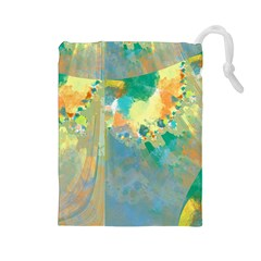 Abstract Flower Design In Turquoise And Yellows Drawstring Pouches (large)